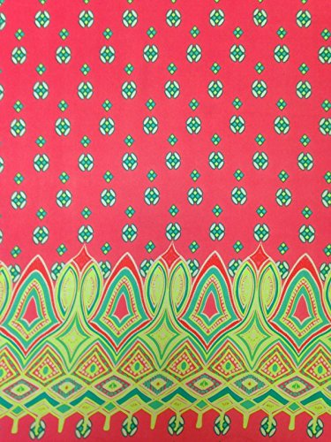 Fabric Non Stretch - Geometric Border Pattern on Non-Stretch Lightweight See Through Polyester Chiffon Fabric By the Yard (Coral)