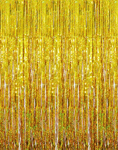 GOER 3.2 ft x 9.8 ft Metallic Tinsel Foil Fringe Curtains for Party Photo Backdrop Wedding Decor (3 Pcs, Shiny Gold)