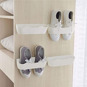 Yocice Wall Mounted Shoes Rack 4pcs with 12pcs Sticky Hanging Strips,  Plastic Shoes Holder Storage Organizer,Door Shoe Hangers ,White,SM02