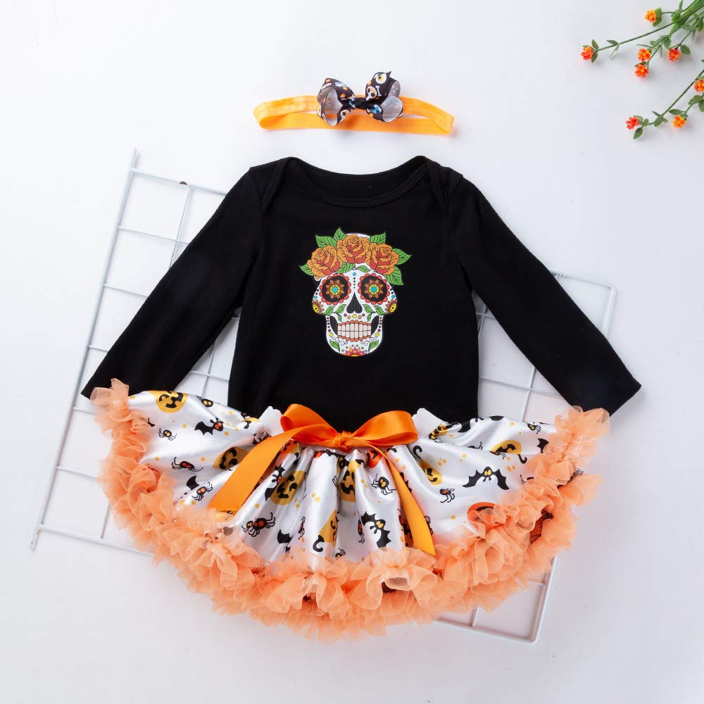 ❤️ Tefamore Vestidos Bebe Ni/ña Ropa Bebe Ni/ña Disfraz Halloween Cr/áneo Impresi/ón Manga Larga Mameluco Ropa Diadema Bow-Knot Tutu Falda