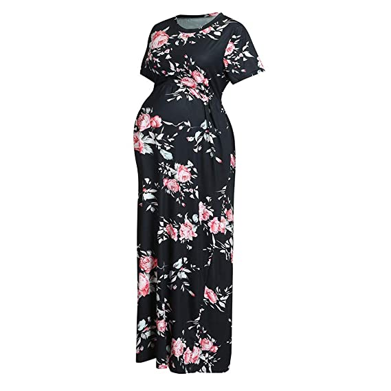 19eec95da4cb2 Toys & Games Sports & Outdoors Sagton Maternity Dress for Womens Short  Sleeve Floral Pregnancy Sundress Photography Props