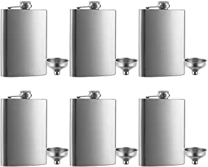 6 Pcs 8 oz Hip Stainless Steel Flask & Funnel Set by QLL, Easy Pour Funnel is Included, Great Gift