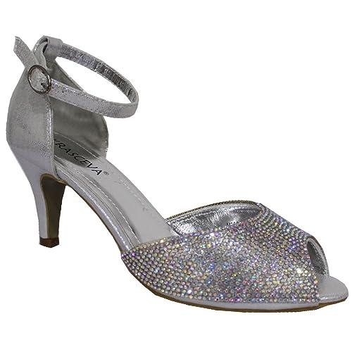 Absolutely Gorgeous Boutique - Zapatos de tacón mujer , color plateado, talla 36.5