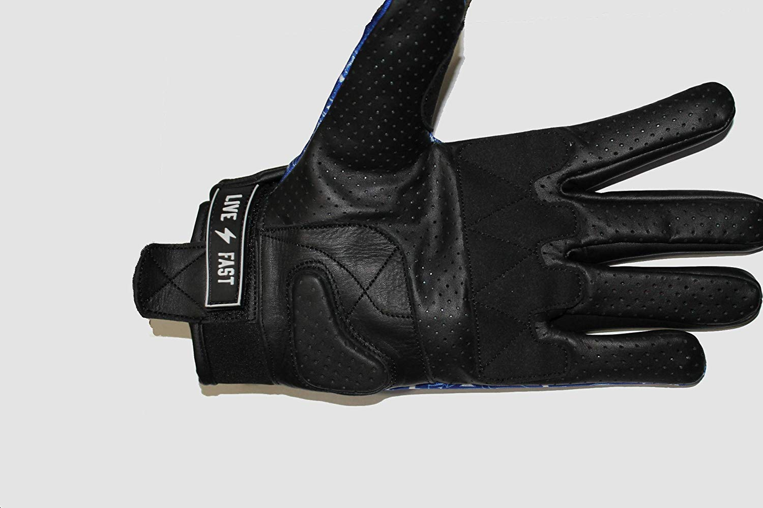 FAST MASK MOTORCYCLE GLOVE FULL LEATHER REINFORCED PALM AND KNUCKLE PROTECTION BANDANA PRINT L, BLACK