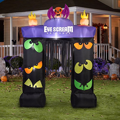Pacman Monster Costume (Gemmy Airblown Inflatable Eye Scream Entrance Archway Walkthrough - Indoor Outdoor Holiday Decoration, 9.5-foot Tall x 7-foot Wide)