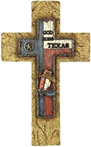 "Comfy Hour 14"" Handmade Antique Style Cowboy Hat Boot Texas Cross Resin Art Wall Decor"