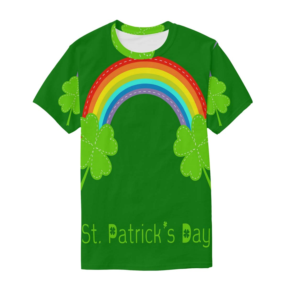Rainbow and Two Clover Leafs St Patricks Day Mens T Shirts Graphic Funny Body Print Short T-Shirt Unisex Pullover Blouse