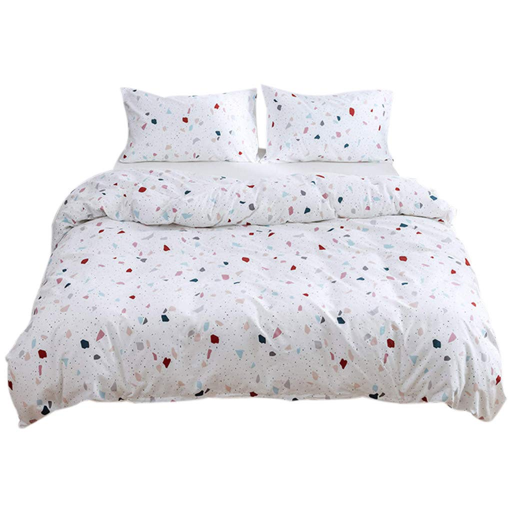 QBQCBB Cotton Bedding Three-Piece,Simple and Fashionable Cotton Quilt Cover Pillowcase (White,135X200)