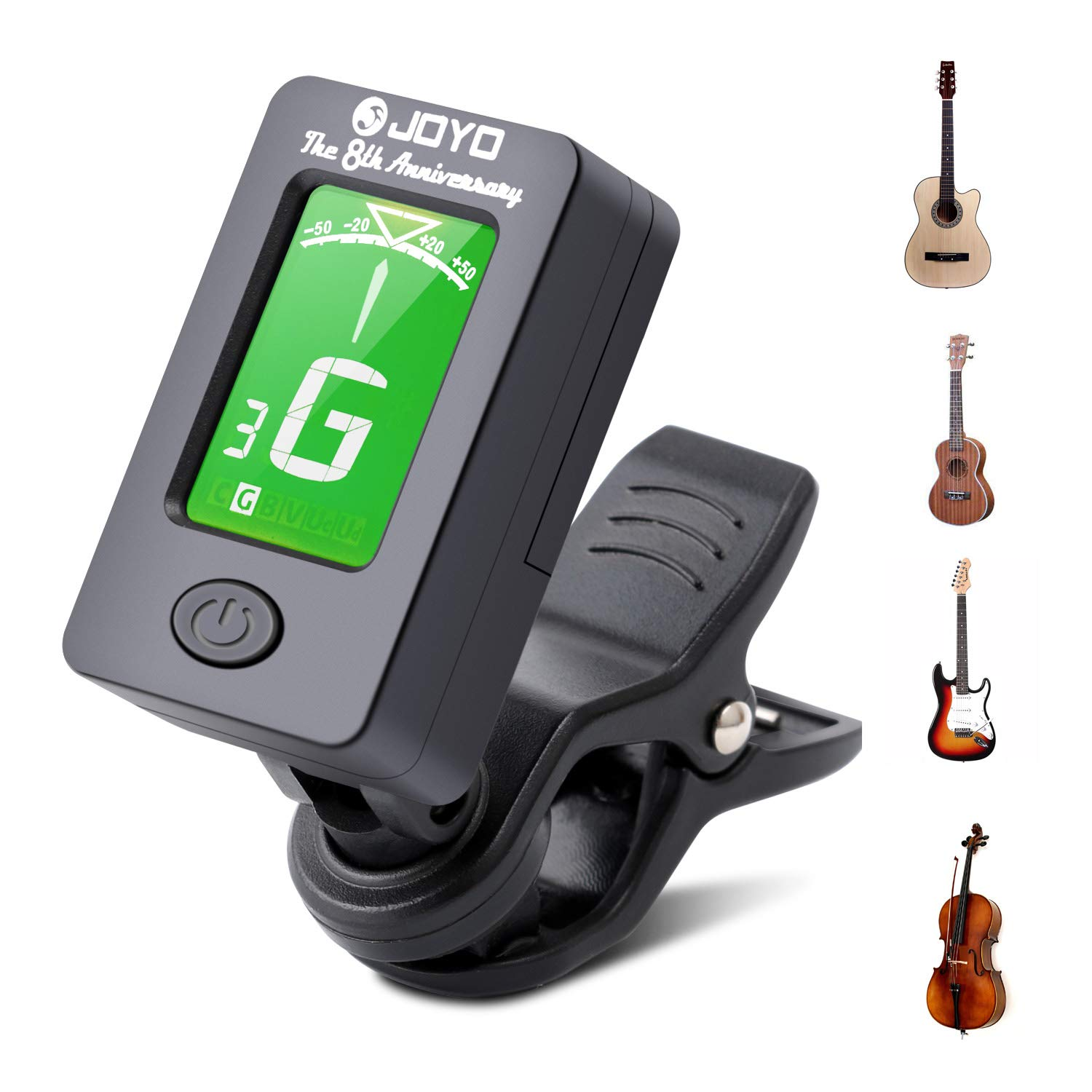 Debonice Accordeur de Guitare,Violon,Ukulélé Accordeur Chromatique à Pince avec Écran LCD 360°Rotation
