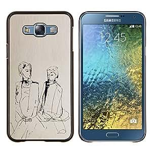 EJOOY---Cubierta de la caja de protección para la piel dura ** Samsung Galaxy E7 E700 ** --dobles niñas chinas
