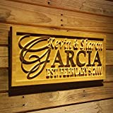 ADVPRO wpa0004 Personalized 5 Year Wood Wedding Custom Surname Initial Rustic Home Décor Marriage Wooden Signs – Standard 23″ x 9.25″