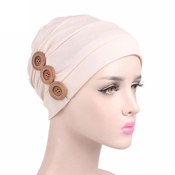 Amazon.com: qingfan Sombrero sólido botón Cáncer Chemo de ...