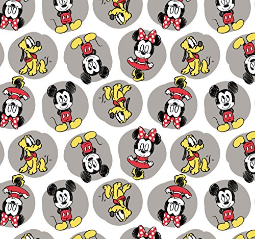 FLANNEL Disney Mickey Minnie Pluto Fabric From Camelot By the Yard (Disney Flannel Fabric)