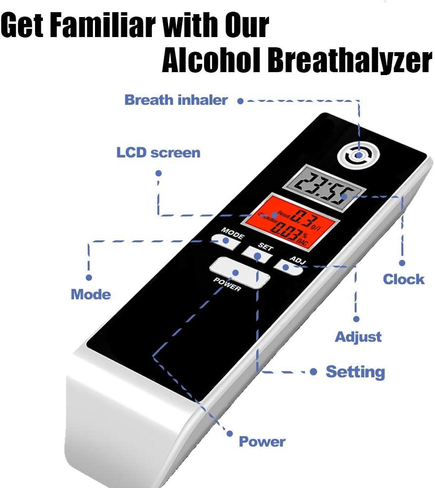 iSunFun Alkoholtester Messbereich 0,0-1,9g∕l Alkoholmessger/ät mit Akustischem Alarm Promilletester f/ür Fahrer oder zur Verwendung im H/äuslichen Bereich