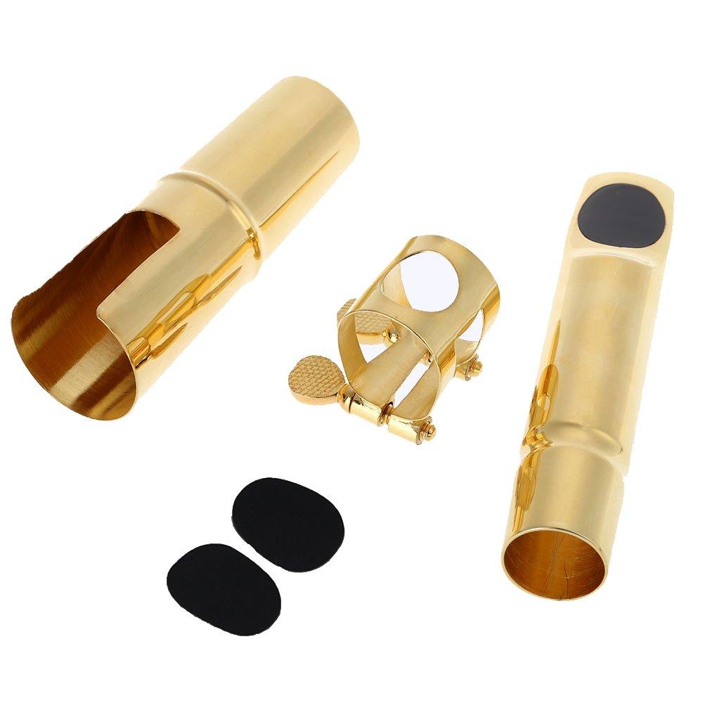 ammoon Bocchino Sassofono Tenore 5C Bocchino Metal con Boccaglio Cuscinetti Cap fibbia placcatura oro