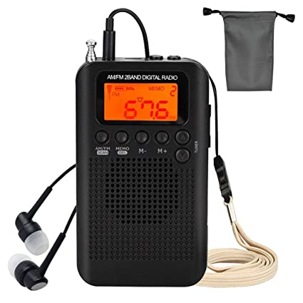 Portable Radio AM FM, Mini Radio with Time and Sleep Timer, Pocket Personal  Radio Built-in Speaker and Earphone Jack, Compact Digital Radio with