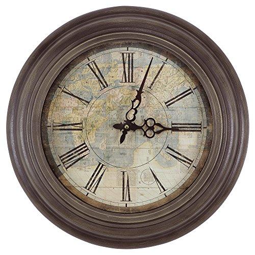 CLKA9A114MD Circular Iron Wall Clock Multi (Iron World Map)