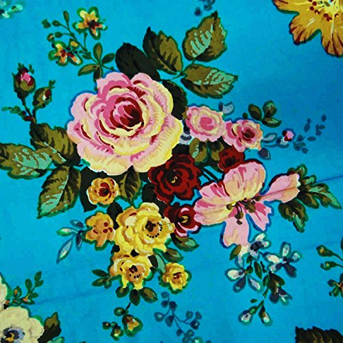 """Blue Floral Print 100% Pure Cotton Fabric 43"""" Wide Sewing Material By the Yard"""