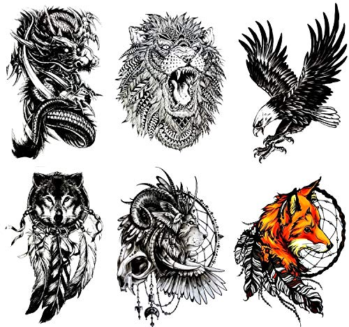 (Gilded Girl Large Temporary Tattoos(Set of 6) Spirit Animals, Dragon/Fox/Wolf/Lion/Eagle/Skull/Tribal Waterproof Body Art Animal)