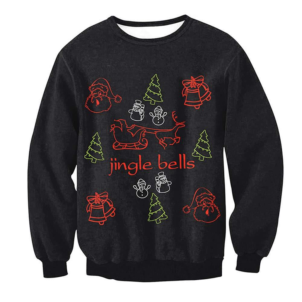 Sweatshirt Noel ELECTRI Couple Noël Imprimé Chat 3D Rétro Pull à Manches Longues Grande Taille Christmas Manches Longues Pullover Lâche Top Sweater
