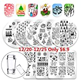 Biutee Nail Stamping Plates 8pcs Templates with Double-head stamper Christmas design Nail Art Plates set