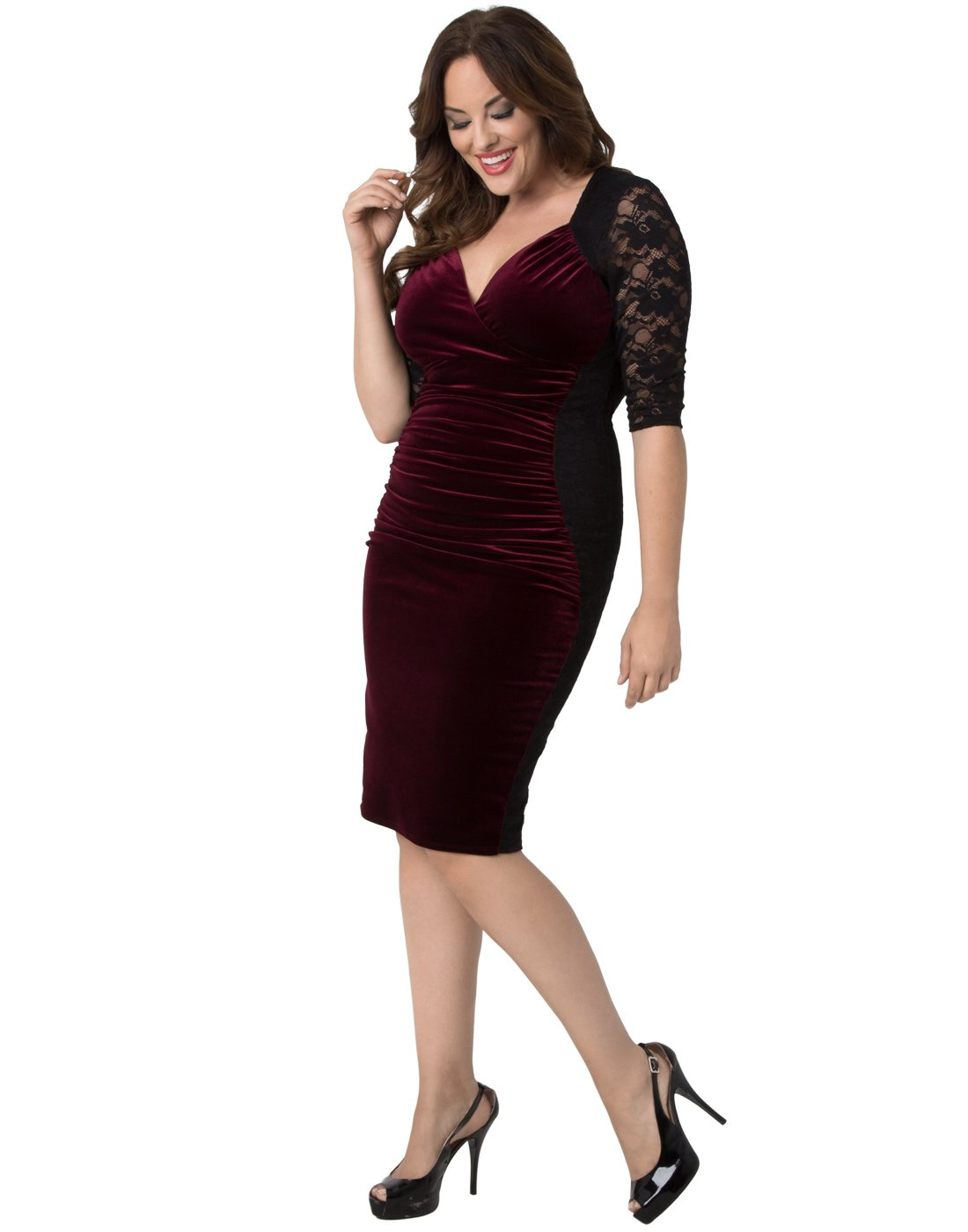 Kiyonna Women's Plus Size Hourglass Lace Dress 3X Wine