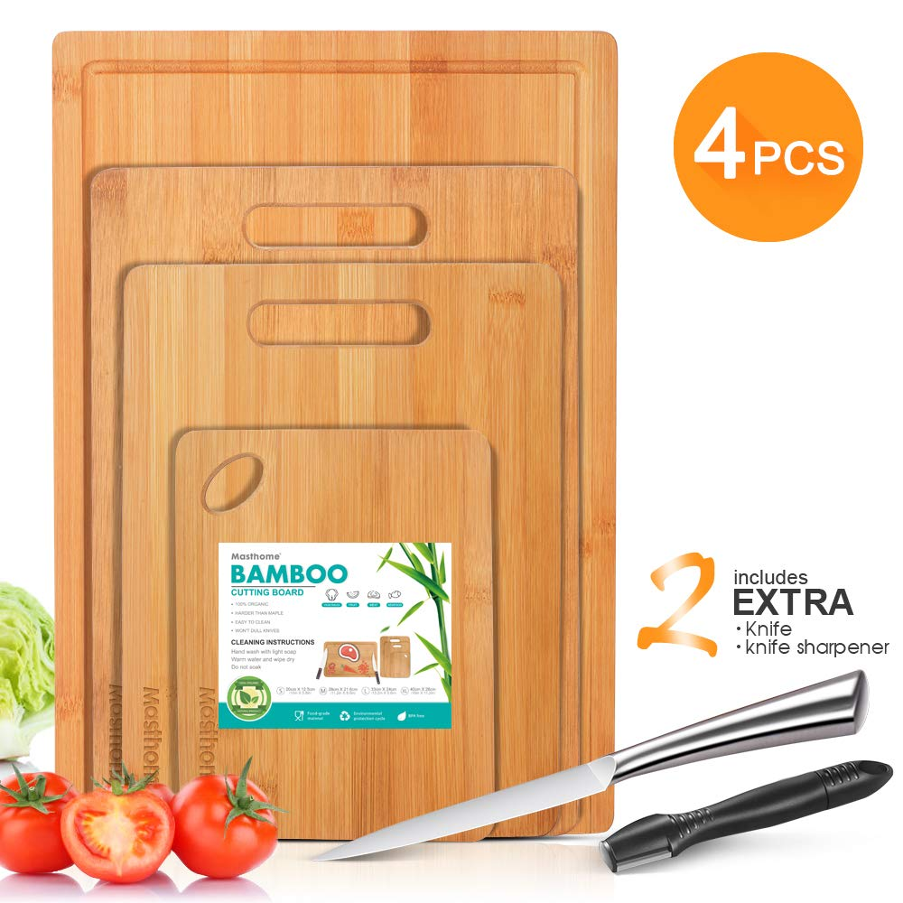 Bamboo Cutting Board Sets 4PCS Thick Chopping Board with Handles and Juice Groove-Send 1PC Knife Sharpener & 1PC Knife Masthome