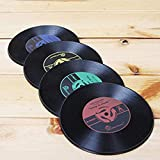 Generic Vinyl Record Drink Coasters Unique Funny Retro Bar for Drinks Perfect Gift for Musicians Set of 4