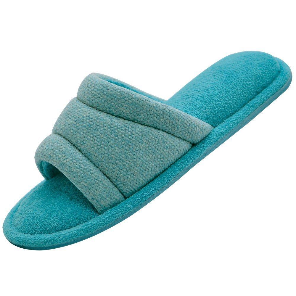 Wishcotton Women's Open Toe Slide House Slippers Comfy Velvet Lined Memory Foam Indoor Shoes (M, Light Blue)