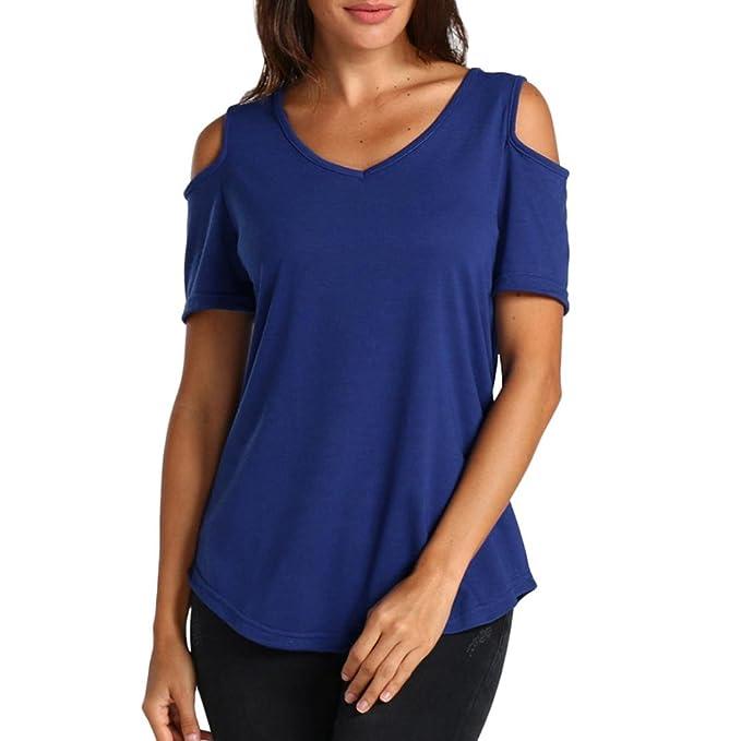 QinMM Camiseta de Verano Sin Hombros para Mujer, Tops Blusa con Cuello EN v Camisa