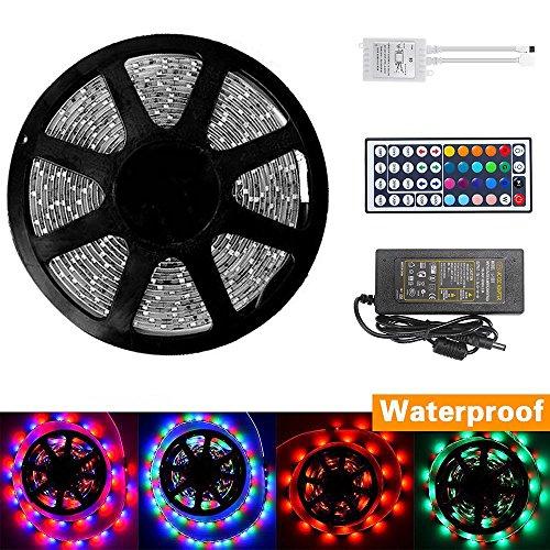 Dizaul 5M LED Streifen Flexibler Lichtschlauch Wasserdicht 300 leds SMD 3528 RGB Farbwechsel LED Lichtkette,LED Strip Mit 44 Key Fernbedienung und 12V 2A Netzteil