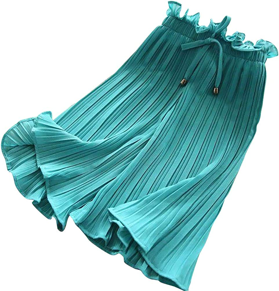 ESHOO Girls Pleated Solid Color Wide Leg Pants Fashion Casual Trousers