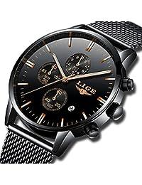 Mens Watches Fashion Waterproof Stainless Steel Analog Quartz Watch Men Luxury Brand LIGE Black Classic Casual...