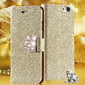 5 5s Bling Diamond Leather Case For Iphone 5 5s Full Wallet Pouch Bag With Shiny Buckle Card Insert Stand Cover For Iphone5 --- Color:Purple