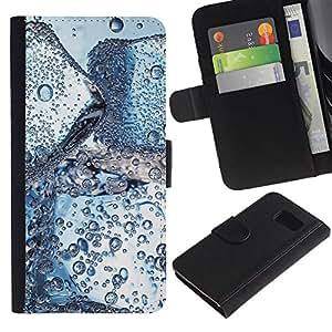 KLONGSHOP // Tirón de la caja Cartera de cuero con ranuras para tarjetas - Gotas de hielo de agua - Samsung Galaxy S6 //