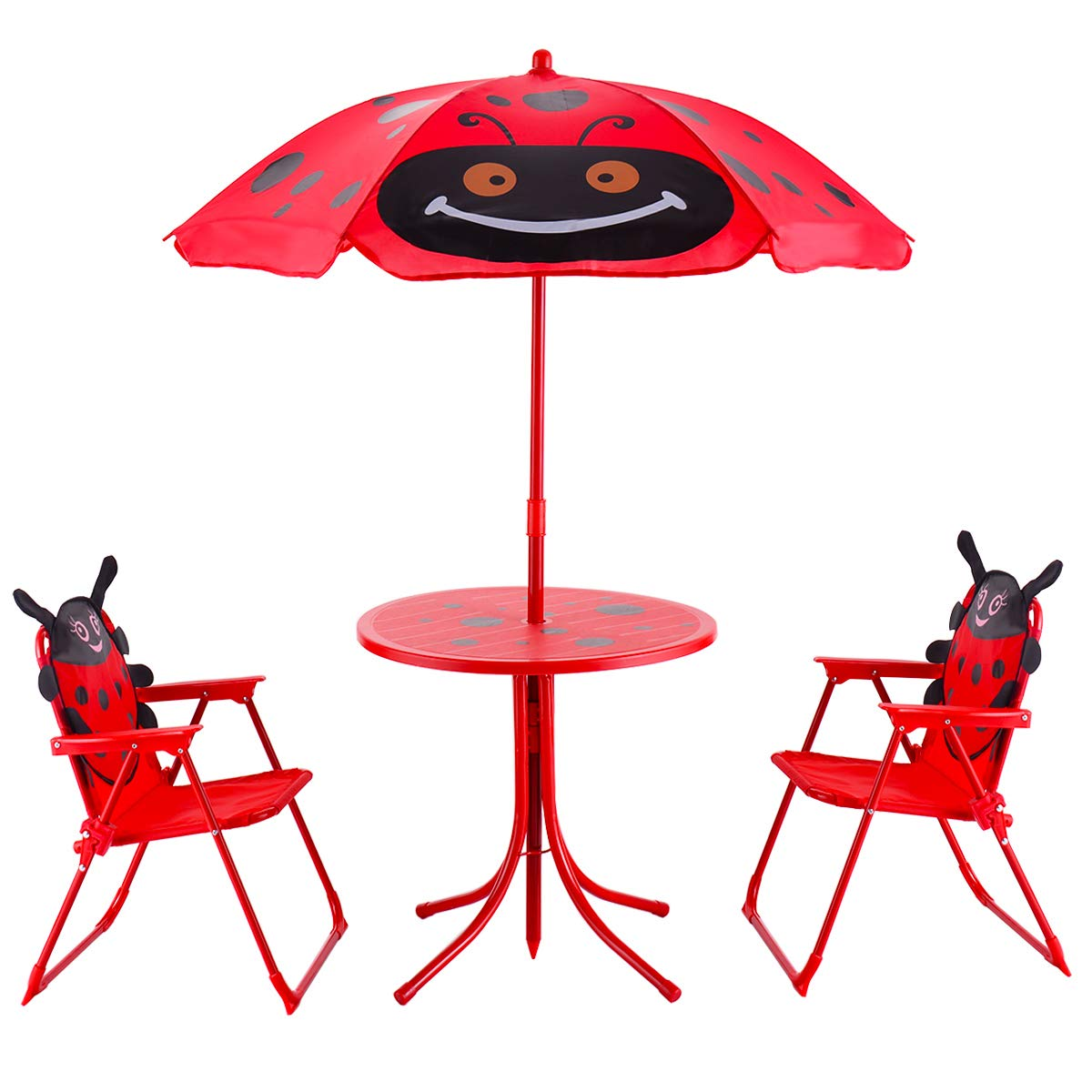 HONEY JOY Kids Table and 2 Chairs Set, Ladybug Folding Set with Removable Umbrella for Indoor Outdoor Garden Patio by HONEY JOY