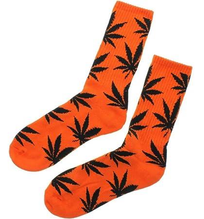 Calcetines de hierba, diseño de Marihuana, color naranja con hojas negras