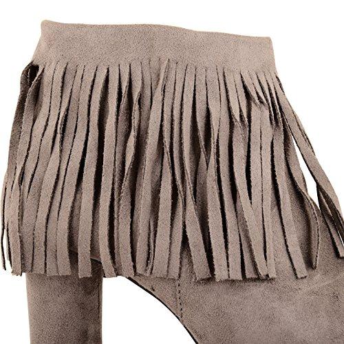 Womens Ladies Faux Suede tacón Borlas con cremallera tobillo botas zapatos talla gris ante