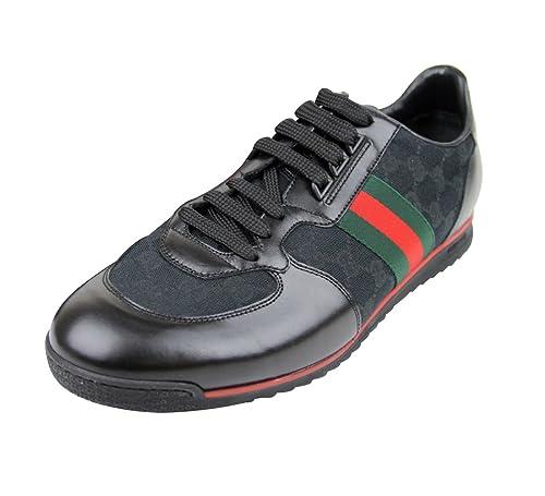 Gucci Hombre Negro Lienzo Signature Web GG Trainer Zapatillas 237715 1060: Amazon.es: Zapatos y complementos