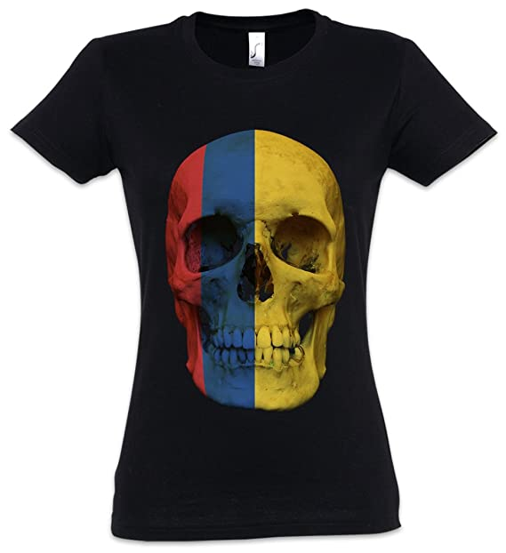 Classic Colombia Skull Flag Mujer Girlie Women T-Shirt - Bandera Cráneo Schädel Banner Fahne