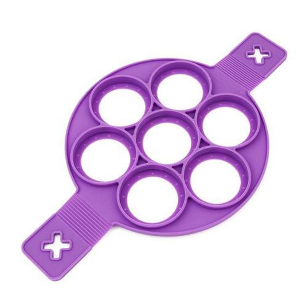 Next Level Prods Fantastic Flippin Pancake Mold Ring, Makes The Perfect Pancakes, Hash Browns, and Brownies In Non-Stick Silicone Maker Tool. Kitchen Bakeware From High Grade Silicone, Purple