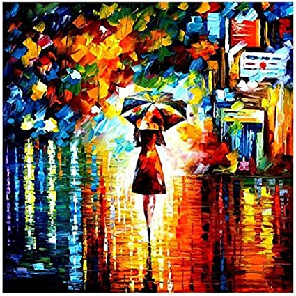 49306d2ff Modern Abstract Wall Painting Umbrella Girl in the Rain Home Decorative Art  Picture Paint on Canvas Prints (80x80cm/30x30inch): Amazon.co.uk: Kitchen &  Home