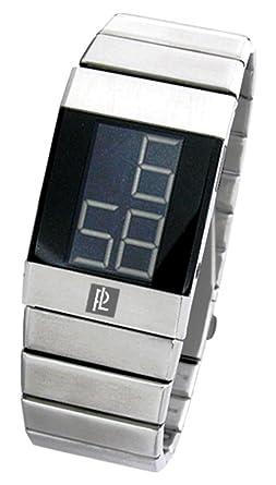 Pierre Lannier 252A131 - Reloj digital de cuarzo para hombre con correa de acero inoxidable, color plateado: Amazon.es: Relojes