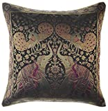 My Craft Palace Banarsi Silk Cushion Cover Indian Style Elephant Peacock Silk Pillow Cover Decorative Sofa Couch Cushion Cover Zippered 16x16 Inch (40x40 cm) Black