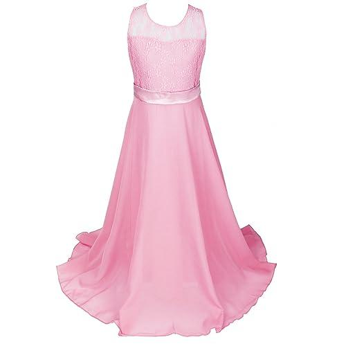 Discoball Girls Lace Dress Chiffon Gown Dress Floor Length Dress Wedding Bridesmaid Flower Girl Long Dress