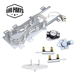 AMI PARTS 8544771 & 279973 &3392519 & 8577274 Dryer Heating Element Thermal Cut Off Kit with Thermistor & Thermal Fuse Replacement Part Compatible with Kenmore Maytag Whirlpool Dryers