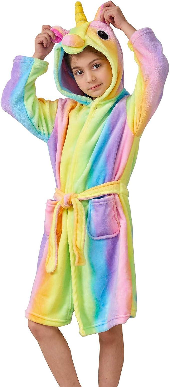 Ruiuzi Accappatoio Morbido Per Bambini Unicorno Pigiama In Pile Con Cappuccio Vestaglia Lussuosa Caldo Indumenti Da Notte Comodi Carino Loungewear Vestaglia