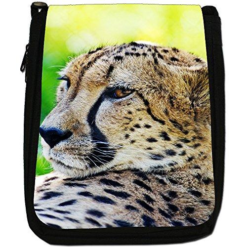 Shoulder Medium Bag Canvas Resting Cat Cheetah Close Wild Size Up Black EZXqwC