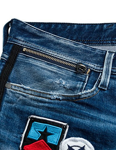 Hombre REPLAY Zip Jeans Anbass Coin Blue Azul Denim Bright gT7wRqT