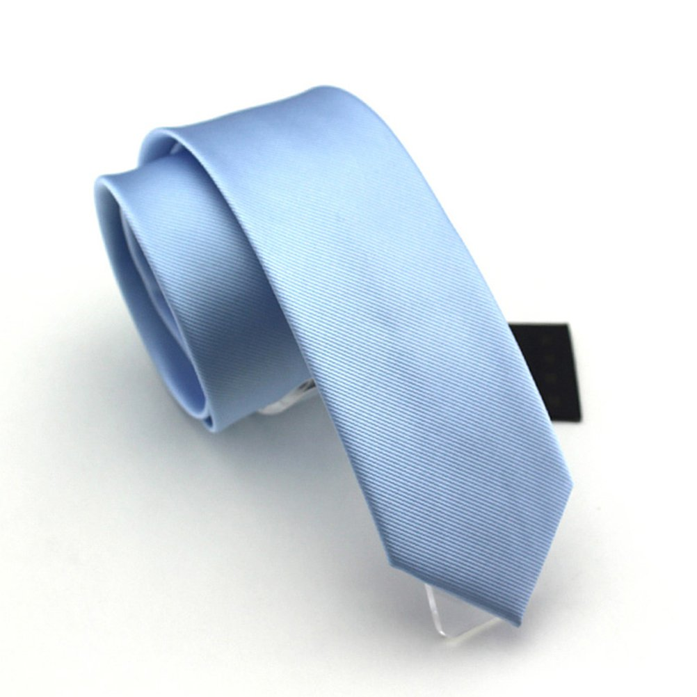 Elviros Mens Eco-friendly Fashion Solid Color Slim Tie 2.4'' (6cm) 19022BL